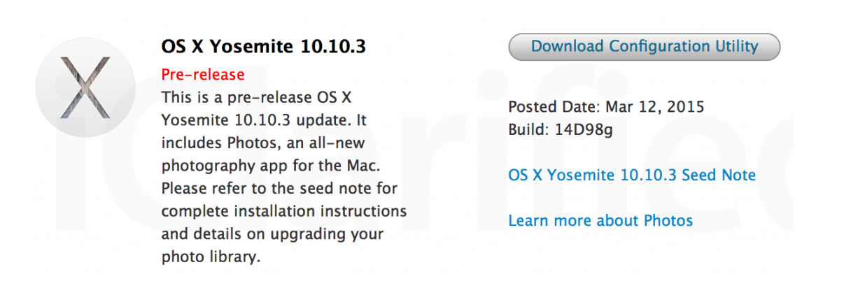 Mac OS X Yosemite 10.10.3 Beta 3 (14D98g)