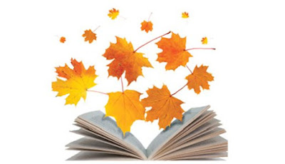 Image Kawartha Lakes Library October events Open book with falling coloured maple leaves