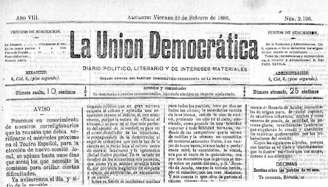 Fragemento de La Unión Democrática del día 19-2-1886