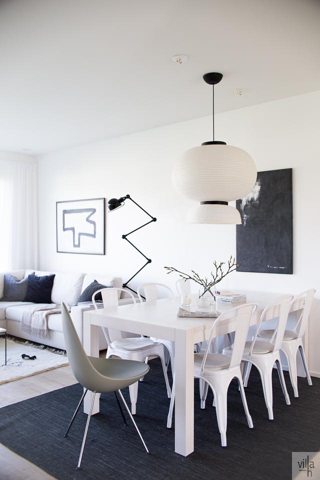 villa h blogi, ruokapöytä, ruokailutila, sisustus, formakami valaisin, tolix tuoli