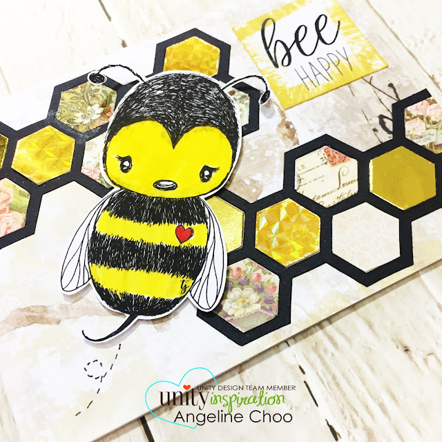 ScrappyScrappy: Honeycomb Bee Card #scrappyscrappy #unitystampco #stamp #stamping #papercraft #scrapbook #quicktipvideo #youtube #video #cuddlebug #tierrajackson #bee #honeycomb #sizzix #timholtzalterations #timholtzframework