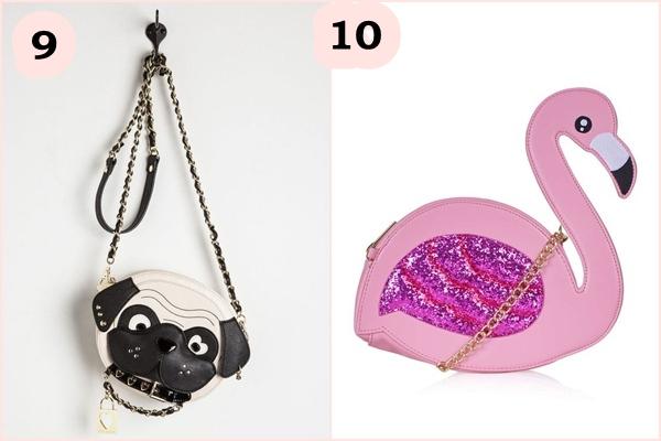 Bolsa criativa Flamingo e cachorro pug