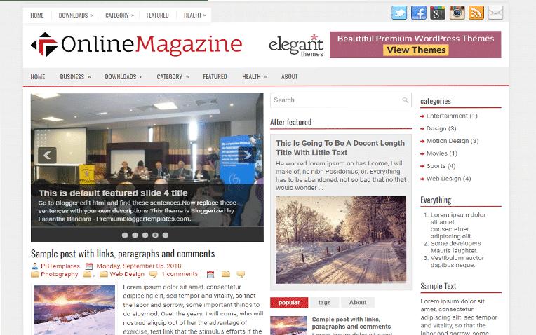OnlineMagazine Free Blogger Template