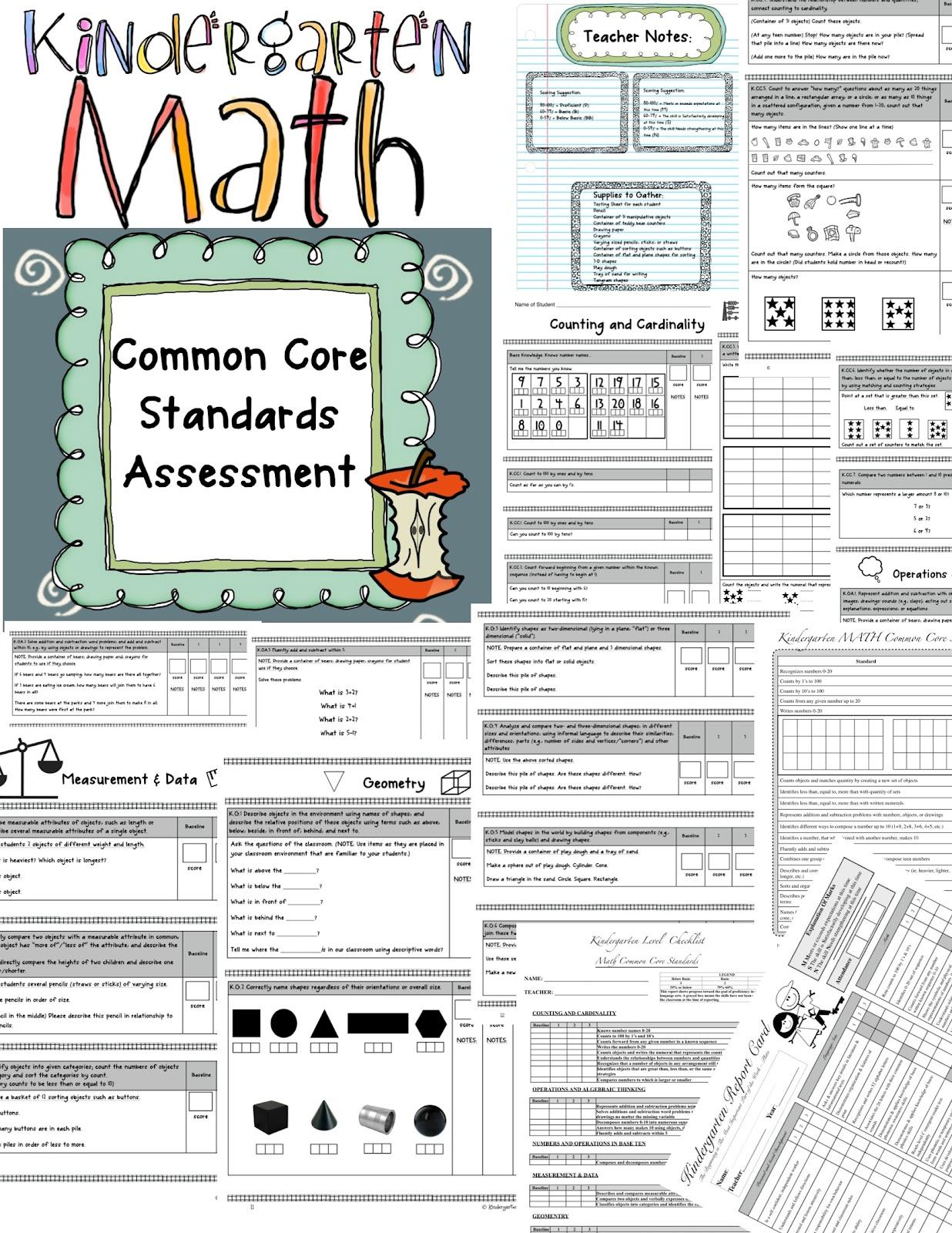 Kindergarten Math Assessments For Common Core Standards