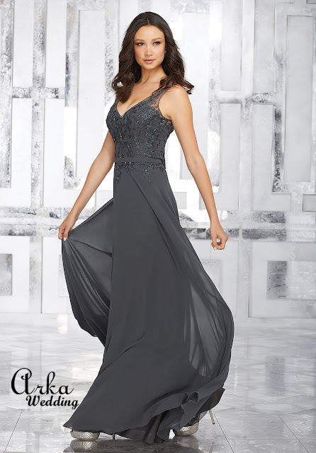 1306e4049f12 ΝΥΦΙΚΑ ARKAWEDDING  Βραδινό Επίσημο Φόρεμα Μακρύ από chiffon και ...