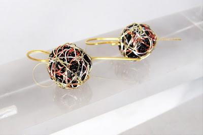 Wire ball earrings, handmade earrings, geometric earrings