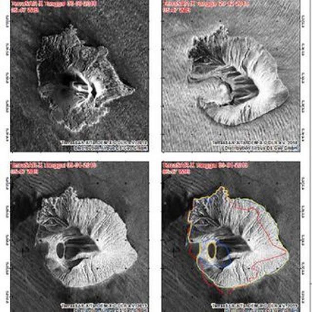 Penampakan Terkini Gunung Anak Krakatau, Air Laut Sangat Panas dan Berwarna Orange