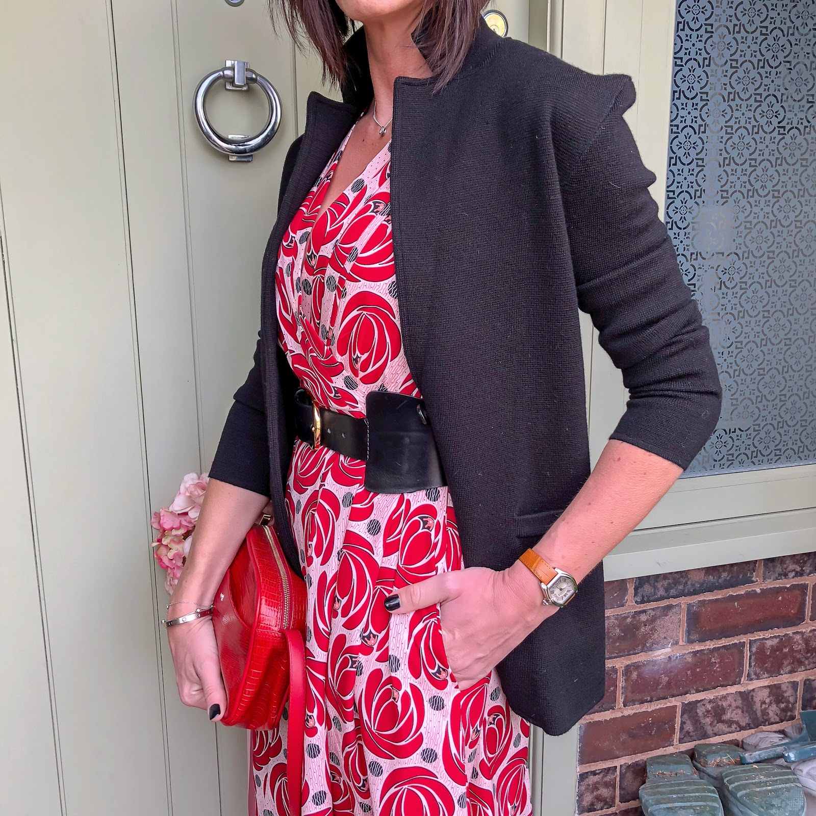 my midlife fashion,the womens society boutique, anonyme sandra midi red dress, and other stories wide leather buckle belt, j crew knitted blazer, golden goose superstar low top leather trainers, uterque mock croc cross body bag