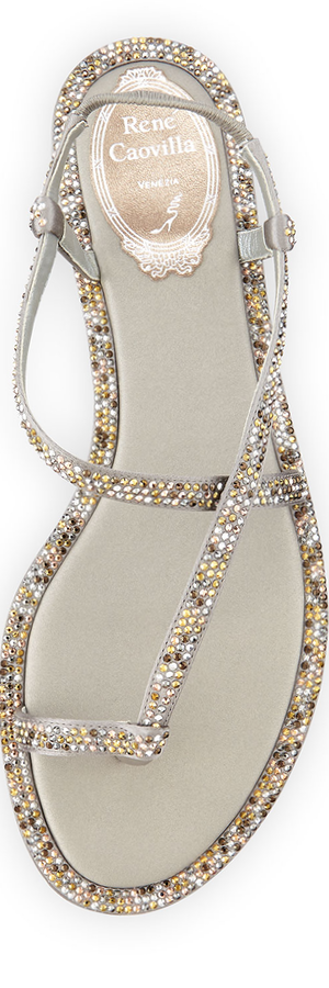 Rene Caovilla Crystal-Embellished Satin Toe-Ring Sandal