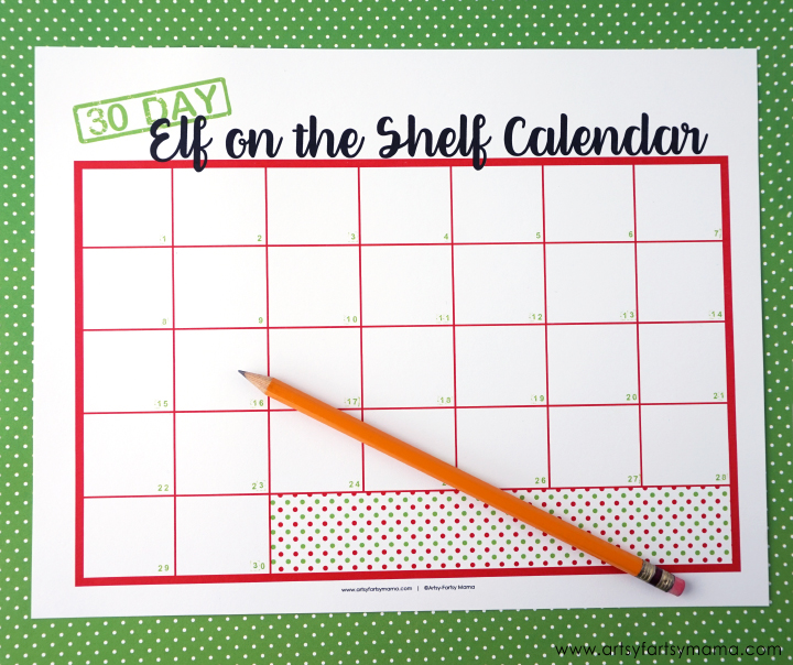 Free Printable 30 Day Elf on the Shelf Calendar to plan your elf activities!