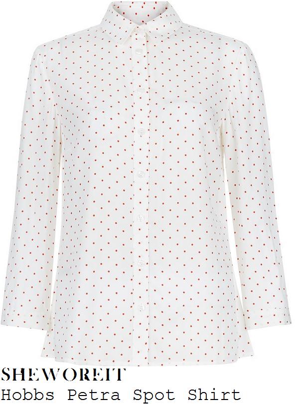 holly-willoughby-hobbs-petra-white-and-orange-polka-dot-spot-print-shirt