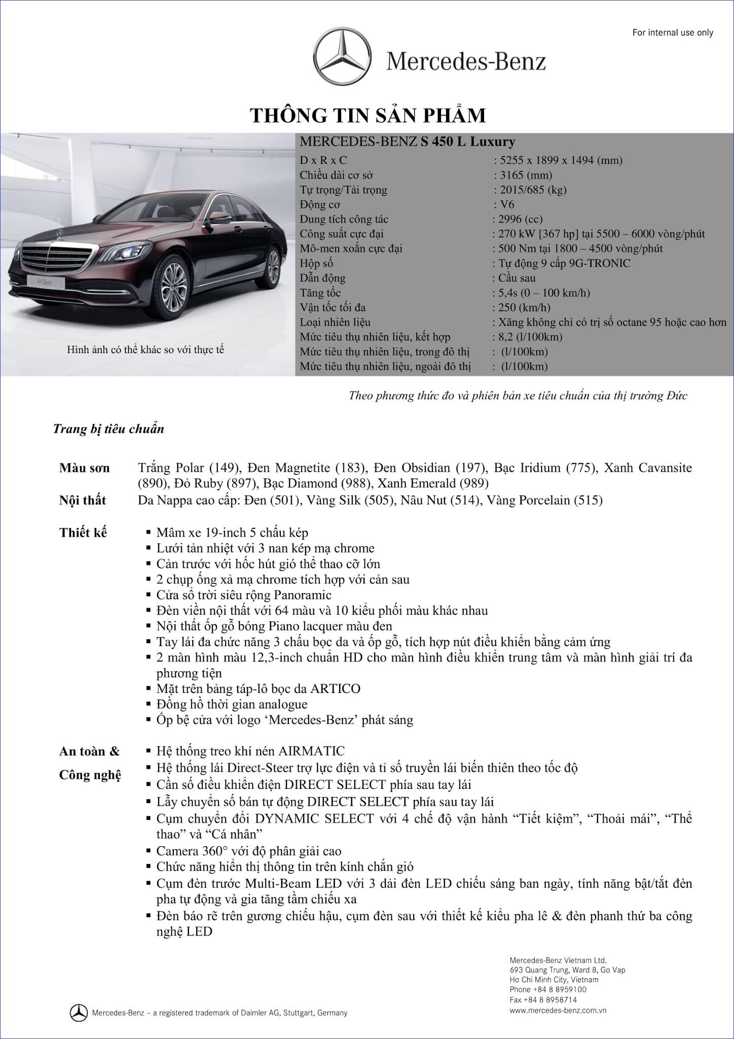 Bảng thông số kỹ thuật Mercedes S450 L Luxury 2019 tại Mercedes Trường Chinh