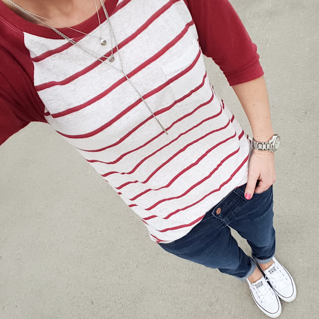 Forever 21 Baseball Tee (similar) // 7 For All Mankind Josefina Jeans - 52% off! // Converse Tennis Shoes // Michael Kors Runway Watch // ILY Couture Necklace (similar)