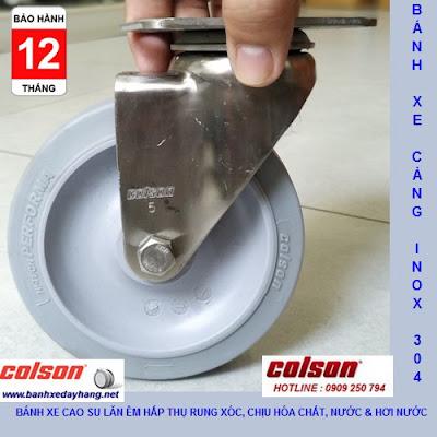 Bánh xe xoay 360 cao su càng inox 304 Colson 5 inch | 2-5456-444 www.banhxedayhang.net