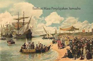 Ilustrasi penjelajahan bangsa barat untuk mencari dunia baru di Timur