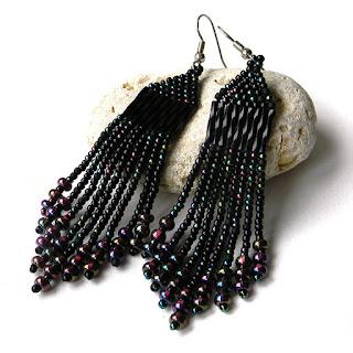 Черные серьги из бисера купить черные готические стильные сережки