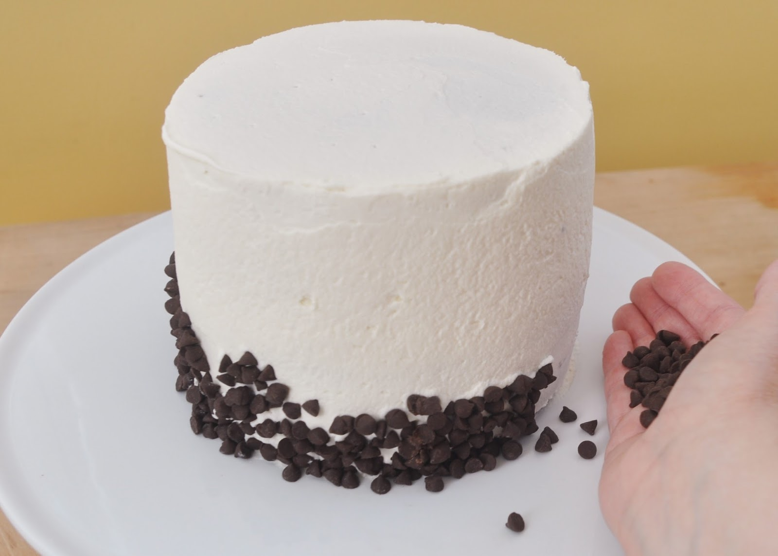 Cover The Cake With A Thin Layer Of Icing Press Mini Chocolate Chips Into The Bottom Edge
