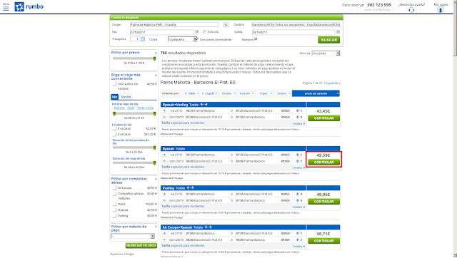 Captura de pantalla con el precio ofrecido por Rumbo al mostrar los resultados de una búsqueda