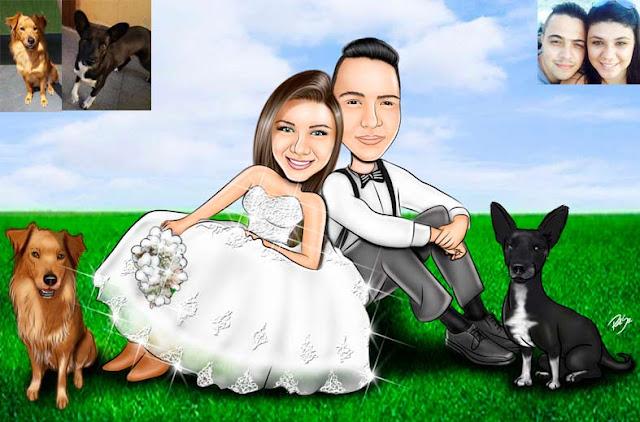 casal de noivos no gramado , buque da noiva , terno do noivo #ricksucaricaturas