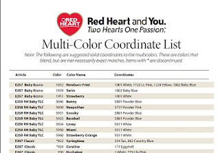 Red heart   multi color coordinate list provides suggested solid coordinates to their line of yarn these are colors that blend also living faith bible church good works ministry resources rh lfbcgoodworksspot
