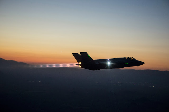 Lockheed F-35 Afterburner Sunset Scene