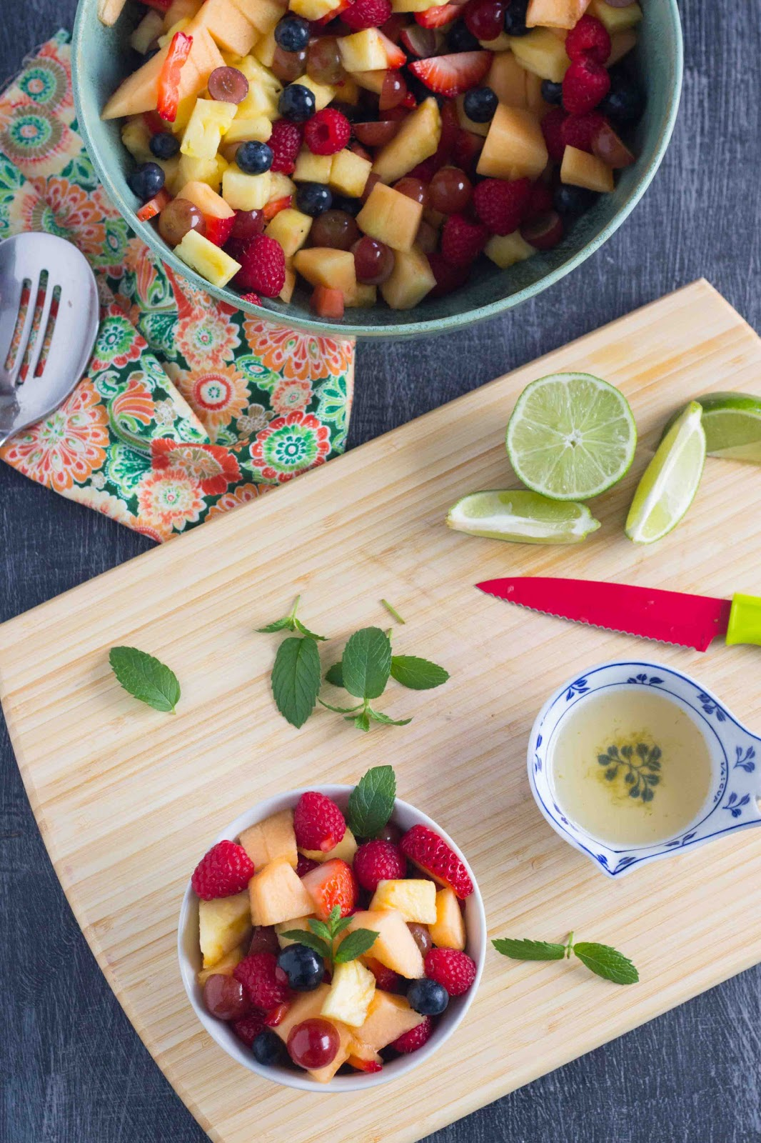 Kid Cultivation Fruit Salad With Vanilla Lime Dressing