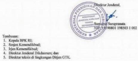 Surat Edaran Direktur Jenderal tentang  Rasio Minimal Jumlah Peserta Didik