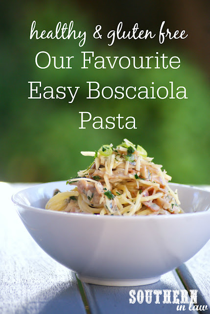 Healthy Easy Boscaiola Pasta Recipe Gluten Free  healthy, low fat, gluten free, high protein, clean eating, easy fettucine boscaiola recipe, ham, cheese, mushrooms, healthy italian recipes