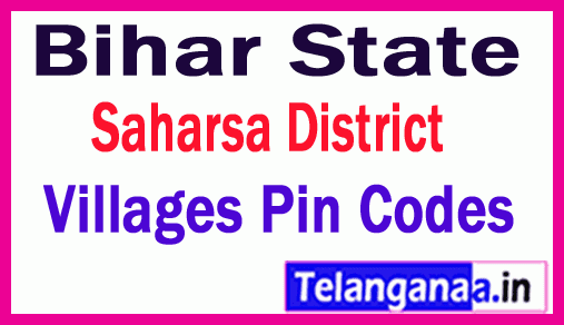 Saharsa District Pin Codes in Bihar State