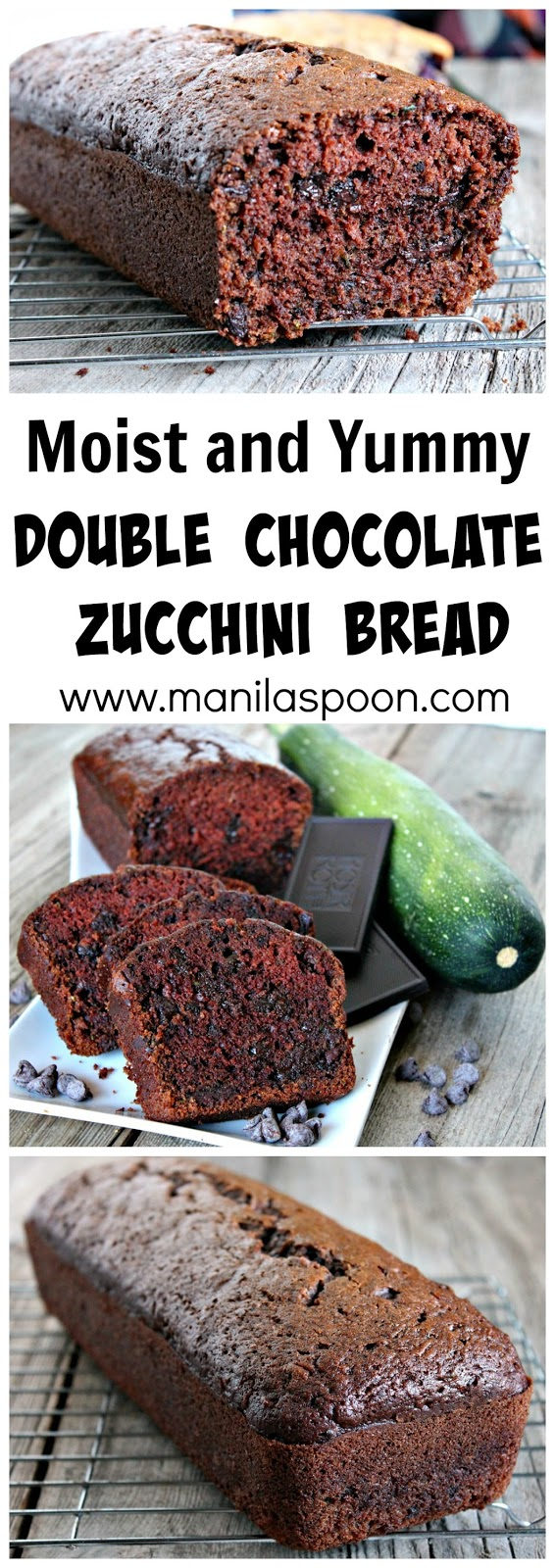 Super-moist, tender and delicious is this Double Chocolate Zucchini Bread. My kids really love this and they don't care that there are veggies in it. It's that good! #double #chocolate #zucchini #bread