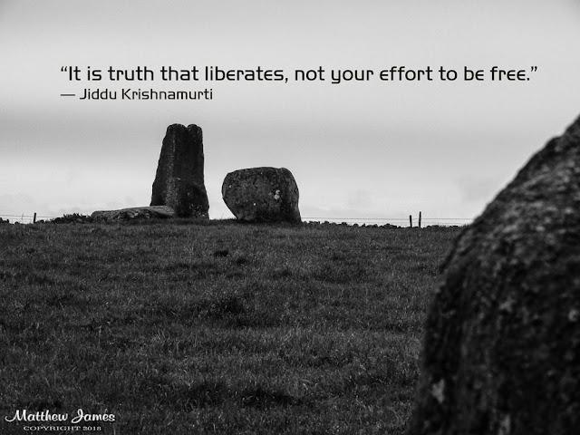 'It is truth that liberates, not your effort to be free' - Jiddu Krishnamurti