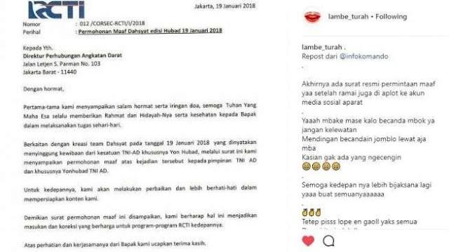 gresik24jam - Dianggap Lecehkan TNI, Acara Dahsyat RCTI Bikin Geram Masyarakat