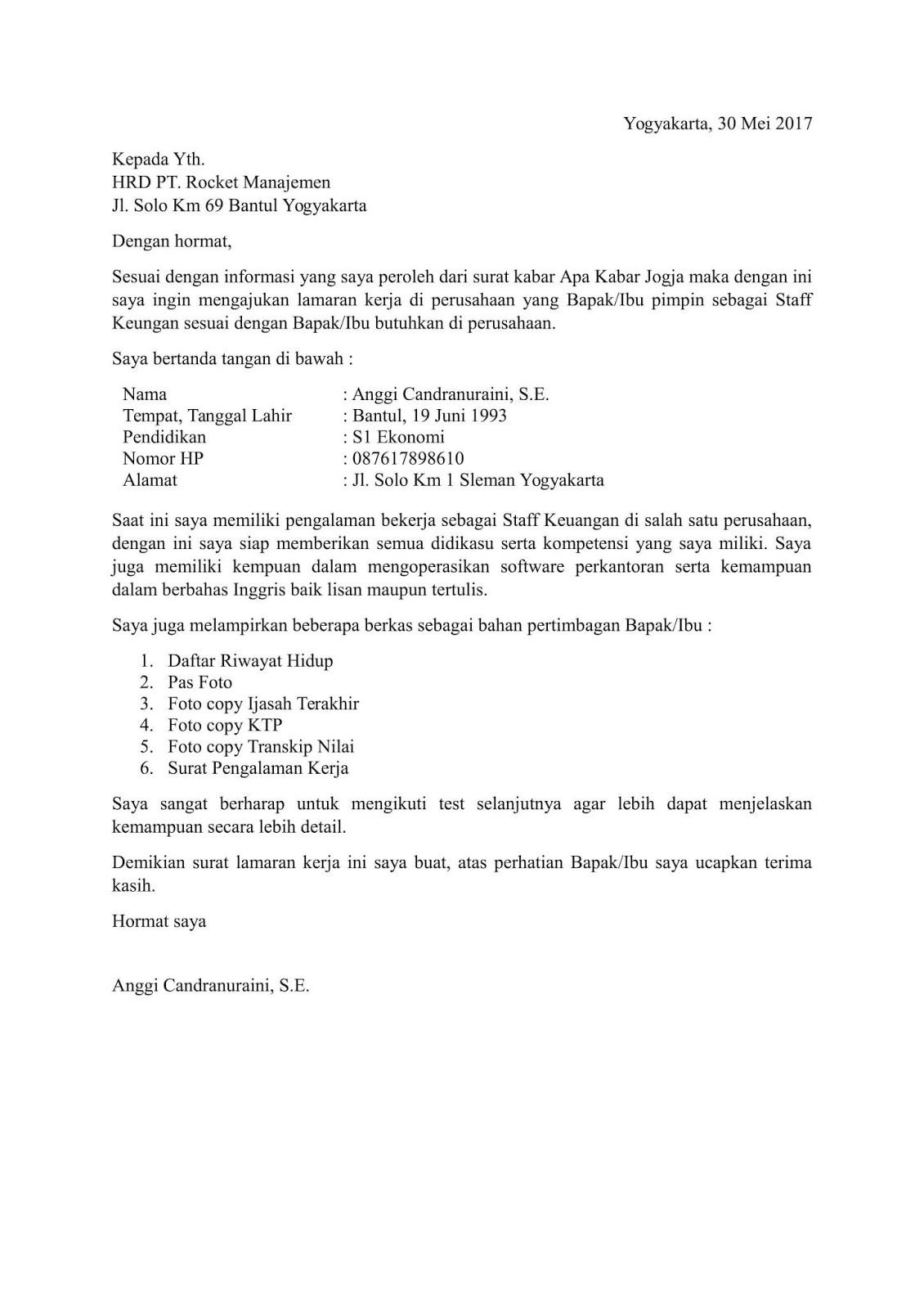Contoh Surat Lamaran Kerja Semi Block Style Contoh Surat