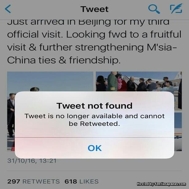 Najib Padam Tweet