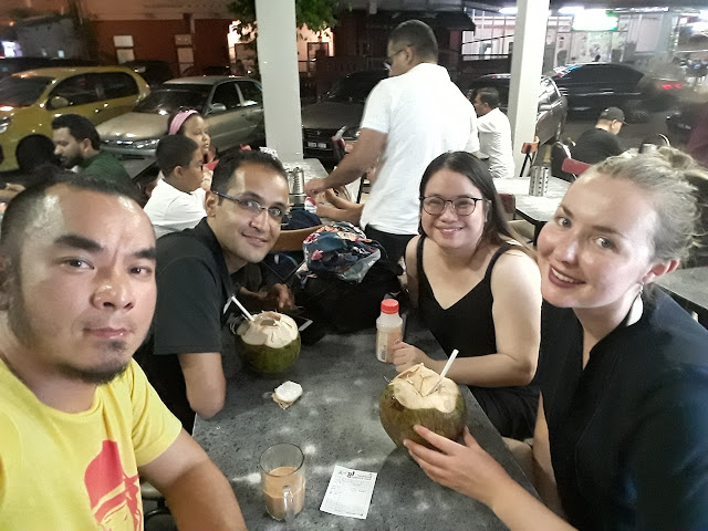 The writer hanging out with new friends from Morocco, Malaysia and England