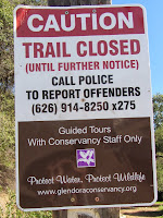 Sign at Colby Trail trailhead in Glendora