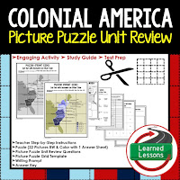 Colonialism Picture Puzzle,  TEST PREP, UNIT REVIEWS, TEST REVIEWS, and STUDY GUIDES