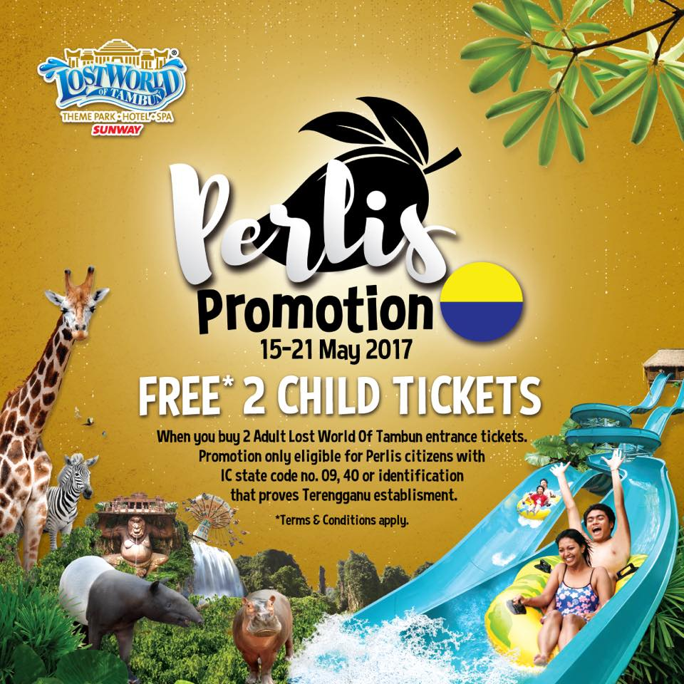 Free 2 lost world of tambun child entrance tickets when you buy 2 free 2 lost world of tambun child entrance tickets when you buy 2 adult tickets perlis residents only 15 21 may 2017 gumiabroncs Choice Image