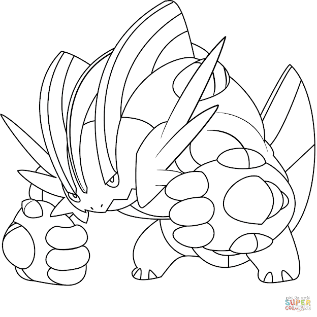 Mega Pokemon Coloring Pages On Cartoons With Mega Swampert Pokemon Page