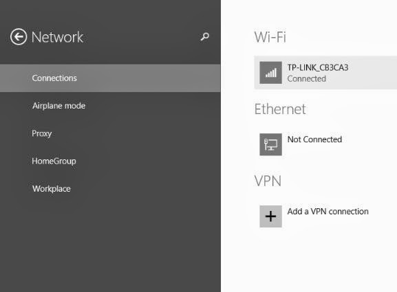 Windows 8.1 Network Settings