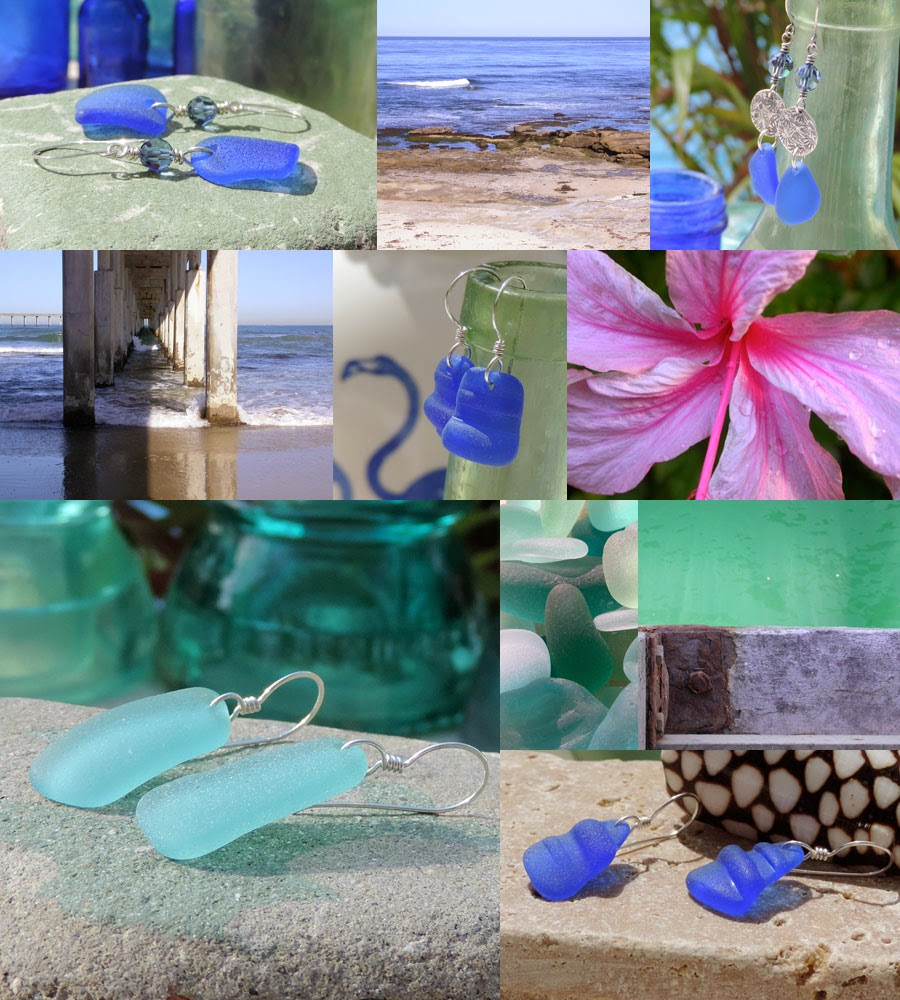 Sea glass earrings with sea glass that was collected by Lisl Armstrong