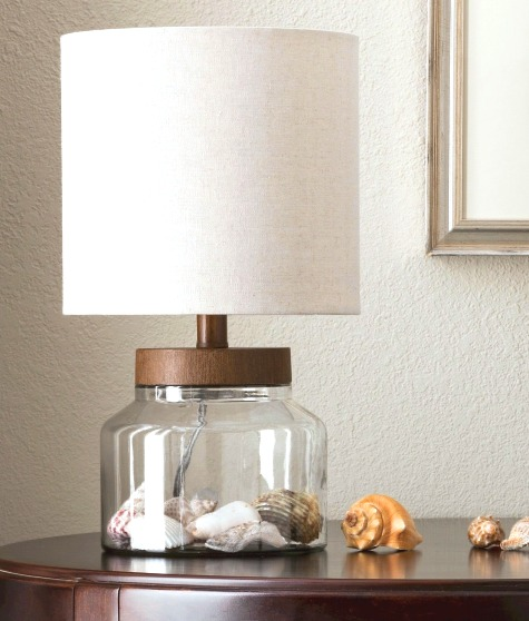 Seashell Decor Ideas with Fillable Glass Table Lamps