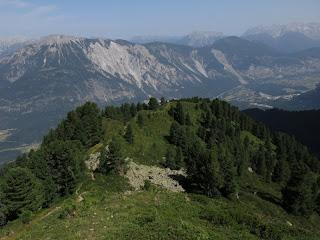 Hier verlässt der Forchheimer Weg den Wald; im Hintergrund der Tschirgant