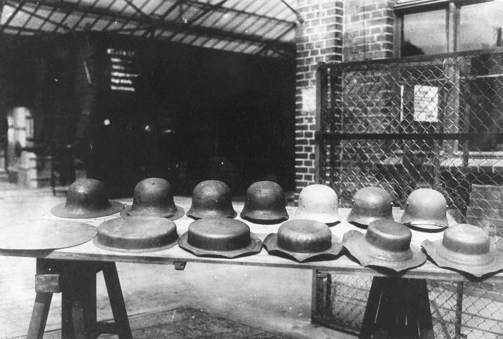 Stahlhelm, the stages of the helmet-making process of Stahlhelms for