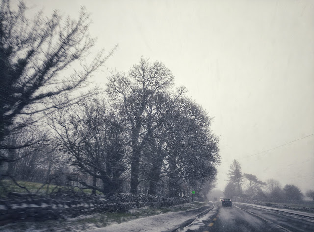 on the road, driving, snowing