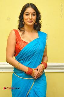 Telugu Actress Vaibhavi Stills in Blue Saree at Www.Meena Bazaar Movie Opening  0027.JPG