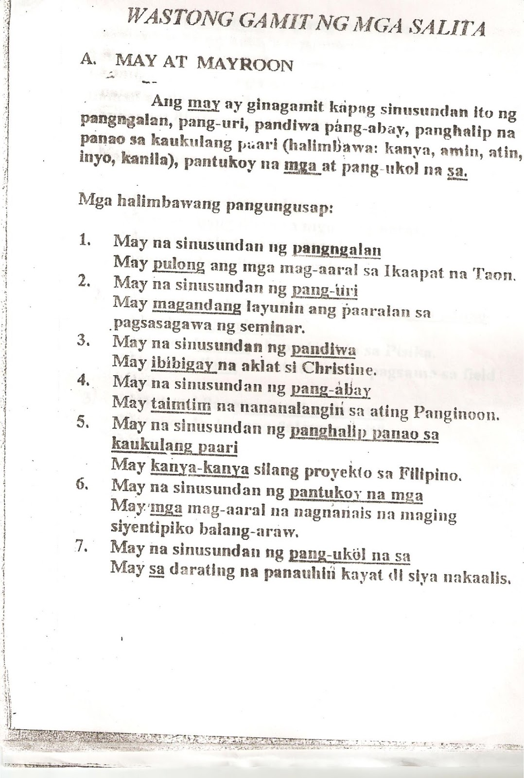Uri Ng Pangungusap Worksheet For Grade 4