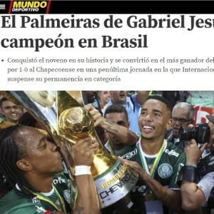 Imprensa europeia exalta G. Jesus e Zé Roberto em conquista do Palmeiras