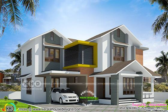 Mixed roof Kerala home by Midarp Builders