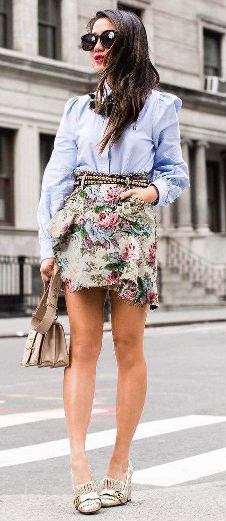 cute outfit | shirt + bag + heels + floral skirt